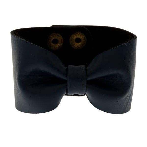 Náramek Leather Bow Navy Blue