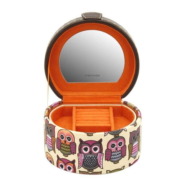 Oranžová kulatá šperkovnice Owlivia