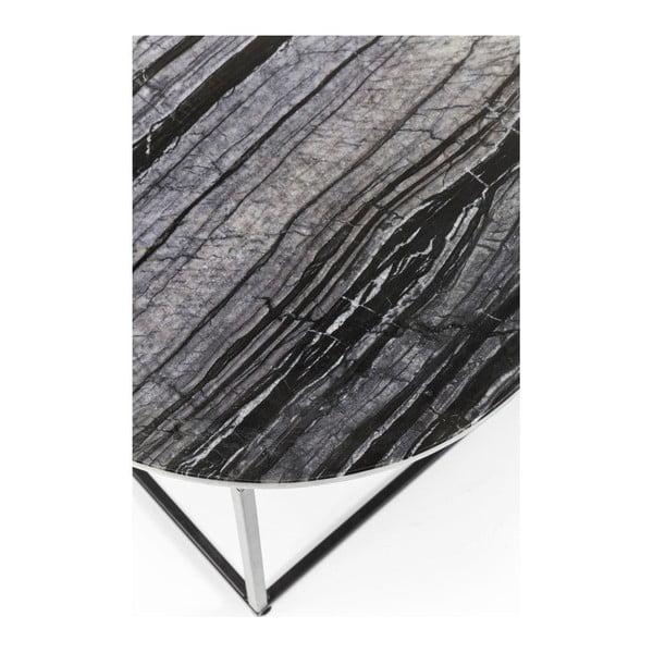 Odkládací stolek z kovové konstrukce s černou mramorovou deskou Kare Design