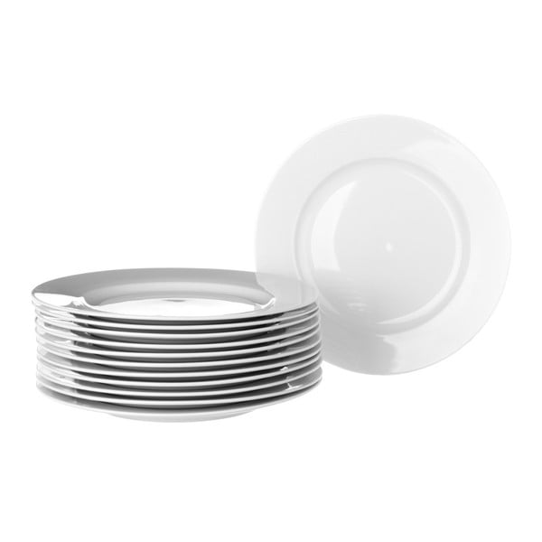 Zestaw 12 białych talerzy porcelanowych Unimasa Elegant, średnica19cm