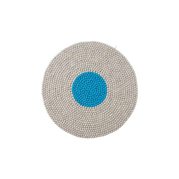 Vlněný koberec Wool Mat Round Turquoise, 90x90 cm