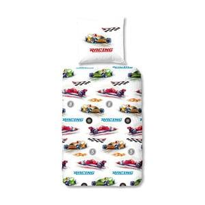 Lenjerie de pat din bumbac pentru copii Muller Textiels Formula 1, 135 x 200 cm