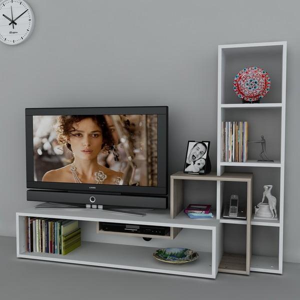 Televizní stěna Stab White/Cordoba, 39x143,6x123,4 cm