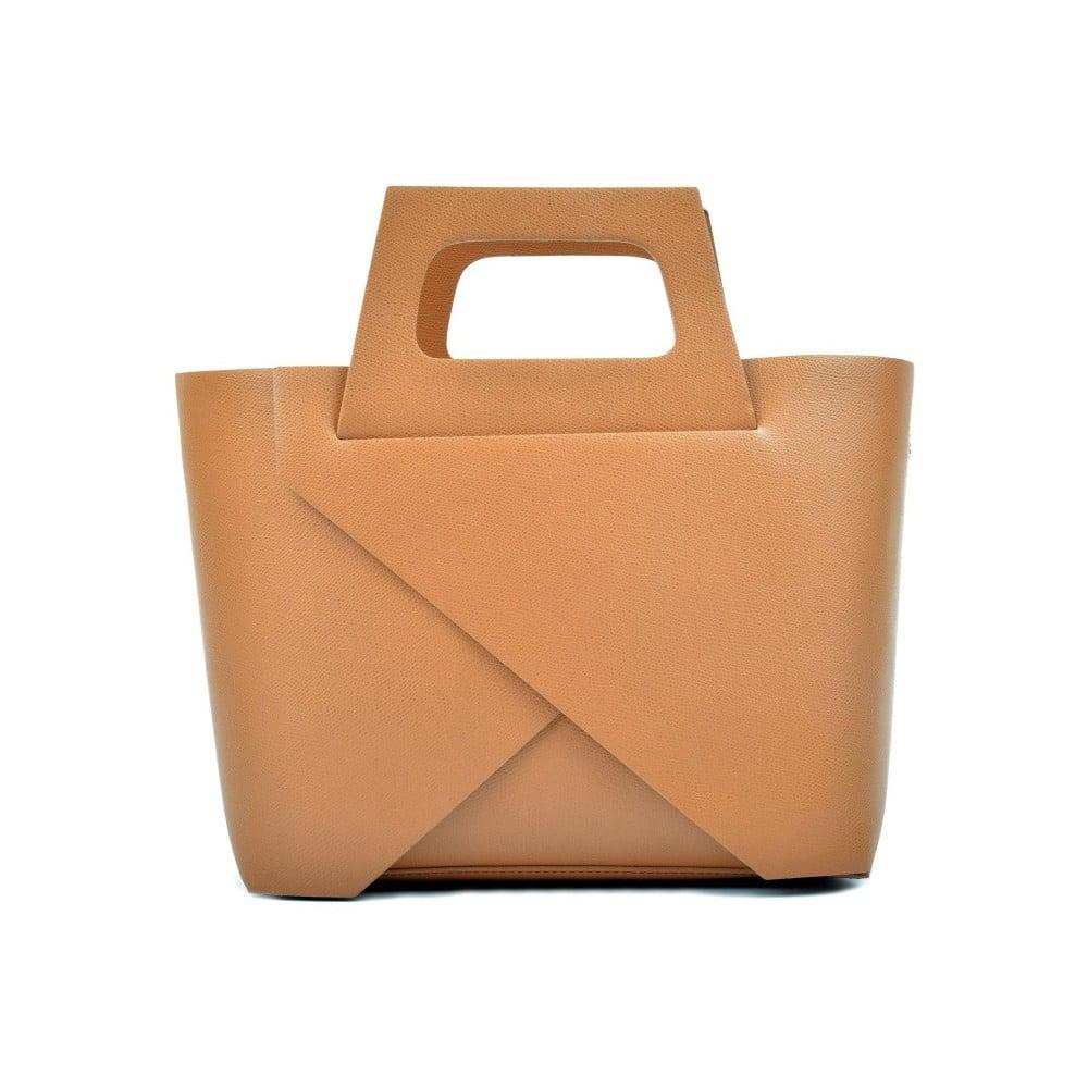 Koňakově hnědá kožená kabelka Carla Ferreri Cross