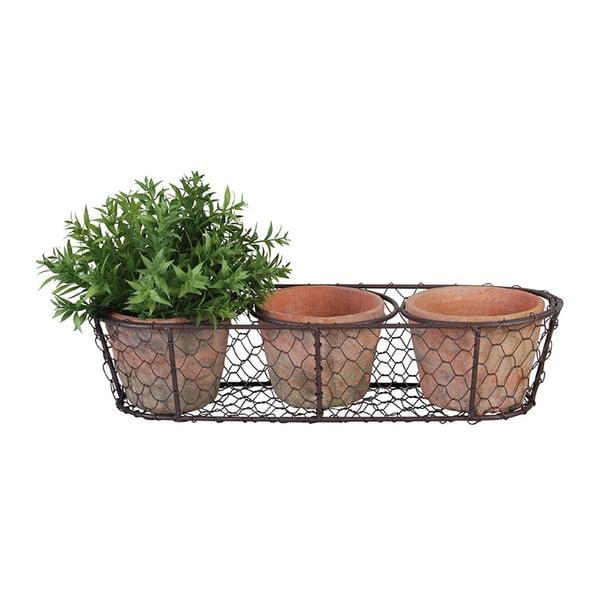 Set 3 terakotových květináčů a drátěného koše Esschert Design