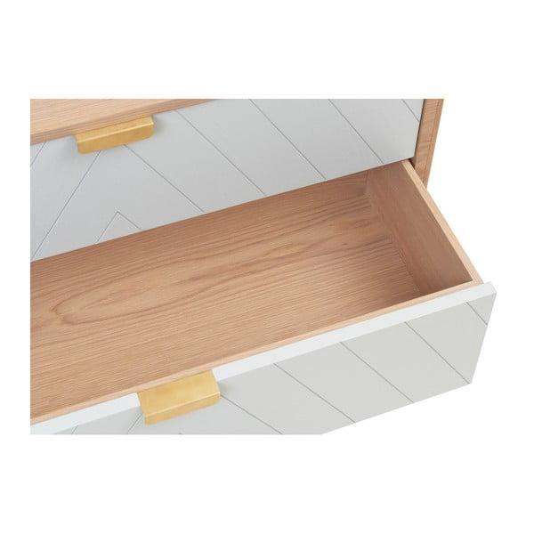 Bílá komoda z dubového dřeva s 3 zásuvkami HARTÔ Marius