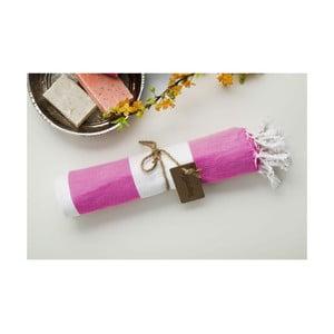 Hammam osuška Myra, růžová/bílá