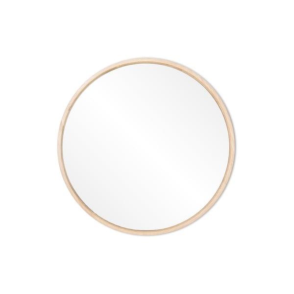 Oglindă de perete cu ramă din lemn masiv de stejar Gazzda Look, ⌀ 27 cm