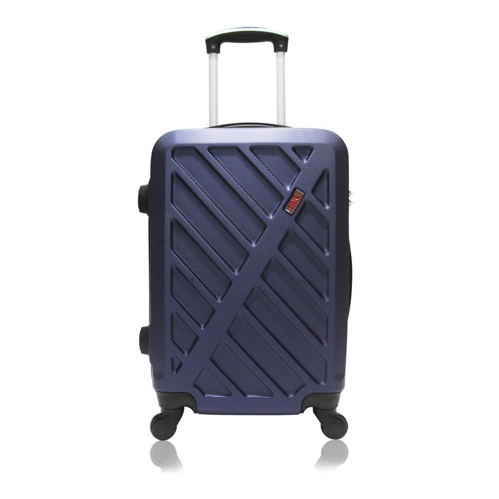 Modrý kufr na kolečkách Hero Lock, 36 l