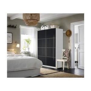 Bílá šatní skříň s černými dveřmi Pole