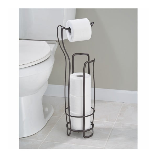 Černý ocelový stojan na toaletní papír se zásobníkem InterDesign, 62,5 cm