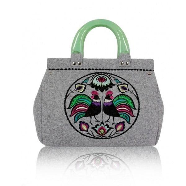Plstěná vyšívaná kufříková kabelka Goshico Folk kohoutí