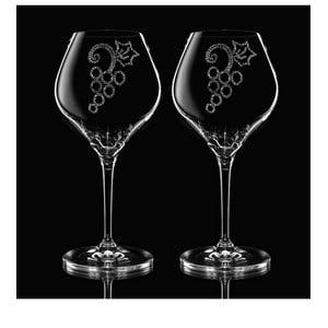 Set 2 pahare pentru vin Grapes Swarovski Elements în ambalaj luxos