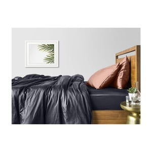 Šedo-béžové bavlněné povlečení na dvoulůžko s šedým prostěradlem COSAS Muno, 200 x 220 cm