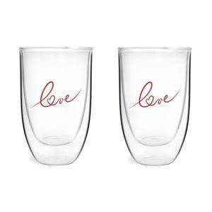 Sada 2 sklenic z dvojitého skla s potiskem Love Vialli Design, 350 ml
