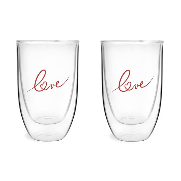 Set 2 pahare din sticlă dublă Vialli design Love, 350 ml