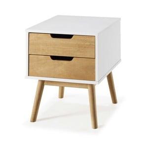 Bílý noční stolek z borovicového dřeva SOB Van