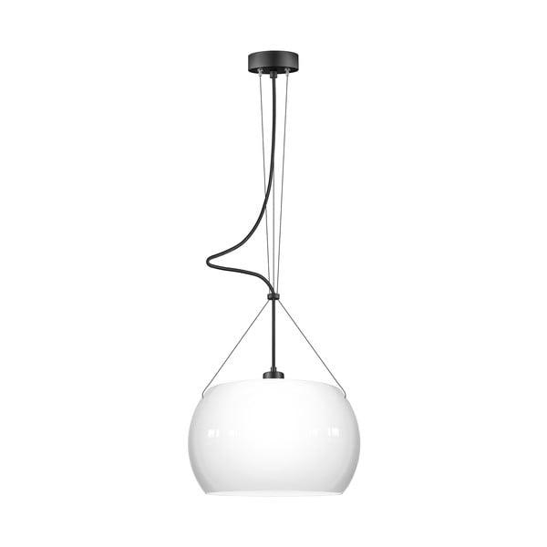Bílé lesklé závěsné svítidlo s černým kabelem Sotto Luce MYOO Elementary