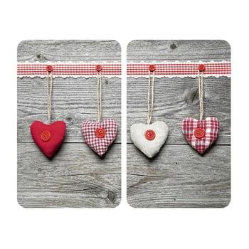 Set 2 protecții din sticlă pentru aragaz Wenko Heart,52x30cm imagine