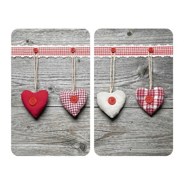 Set 2 protecții din sticlă pentru aragaz Wenko Heart,52x30cm