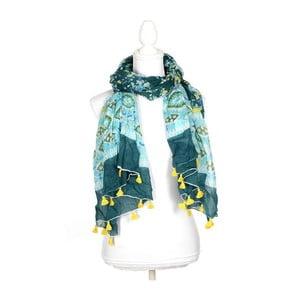 Šátek/pareo BLE Inart 100x180 cm, modrý/zelený