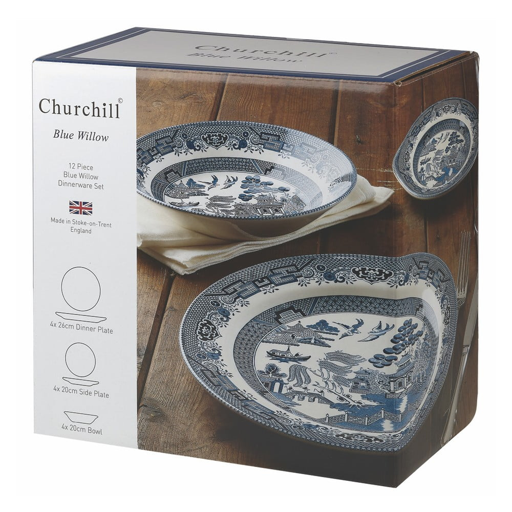Sada 12 talířů Churchill China Blu Willow