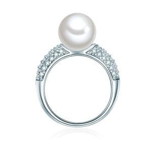 Prsten ve stříbrné barvě s bílou perlou Pearldesse Muschel, vel. 58