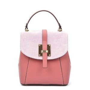 544175b022 Růžový kožený batoh Carla Ferreri Traveler