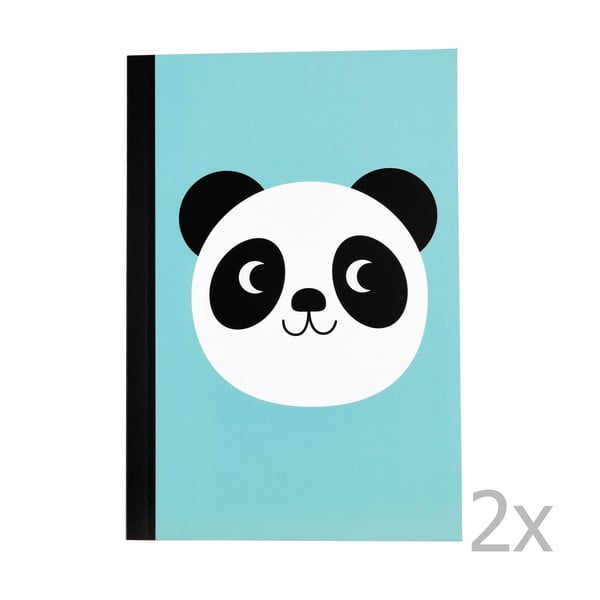 Zestaw 2 zeszytów w linie z motywem pandy Rex London Miko The Panda