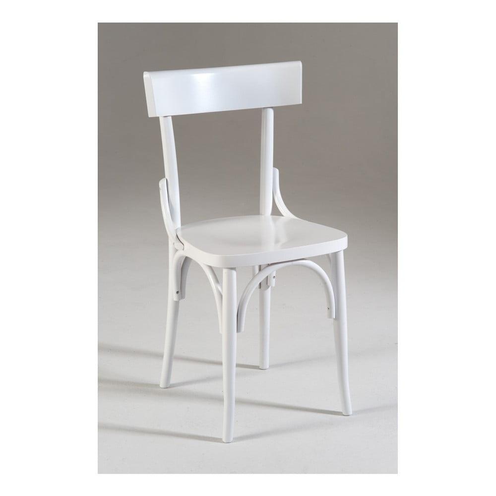 Bílá dřevěná jídelní židle Castagnetti Milano