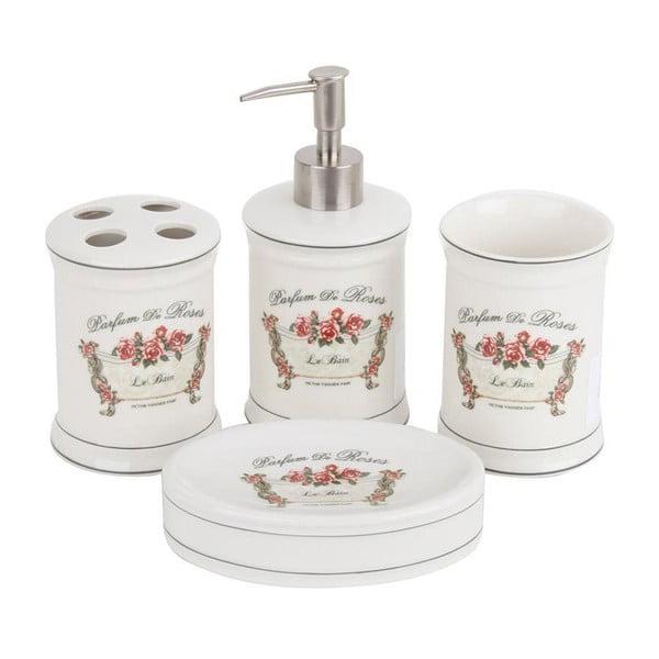 Porcelánová sada do koupelny Parfum de Roses, 4 ks