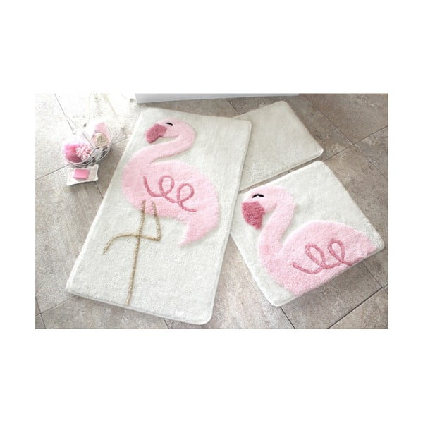 Sada 3 koupelnových předložek Pink Flamingo