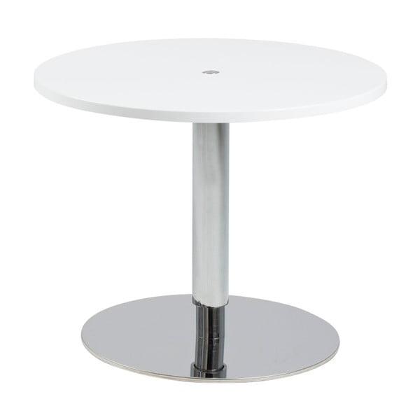 Bílý odkládací stolek s nerezovou nohou Actona Sortello