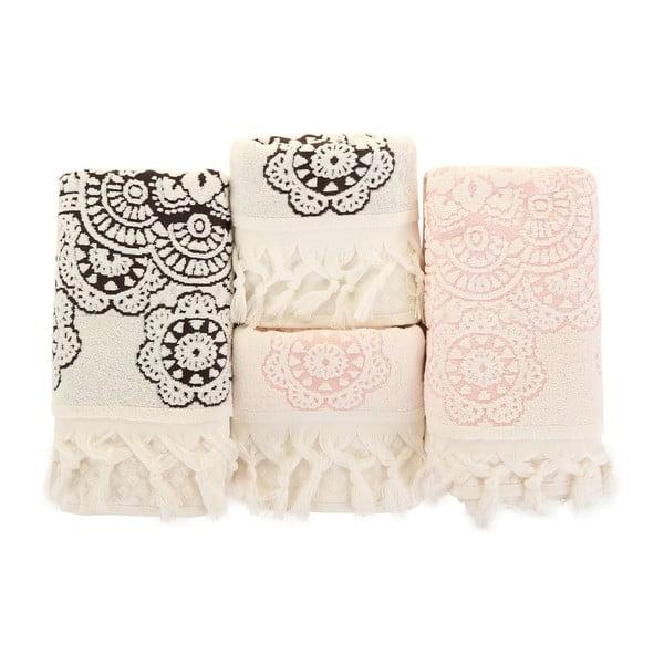 Sada 4 růžovobílých ručníků Marcelo