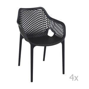 Sada 4 černých zahradních židlí s područkami Resol Grid