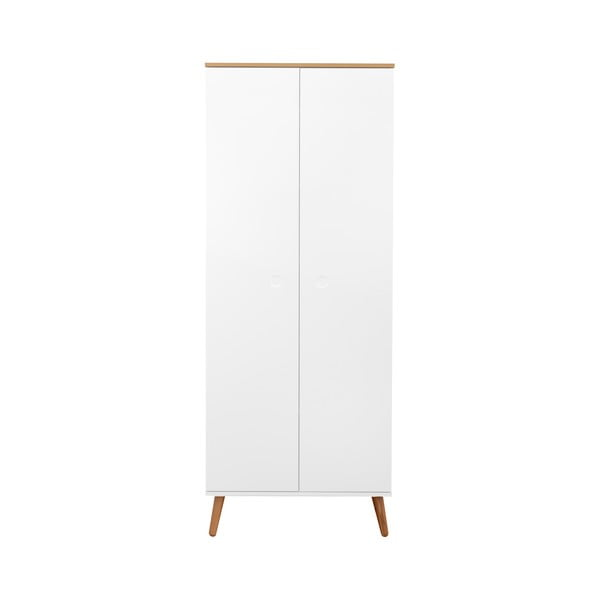 Bílá šatní skříň s nohami z dubového dřeva Tenzo Dot, výška 201 cm