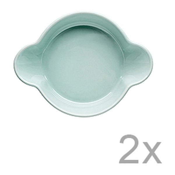 Sada 2 tyrkysových porcelánových misek Sagaform Piccadilly Caroline, 13x17,5cm