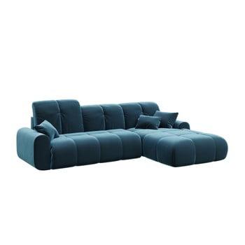 Canapea extensibilă cu șezlong pe partea dreaptă Tous, albastru închis