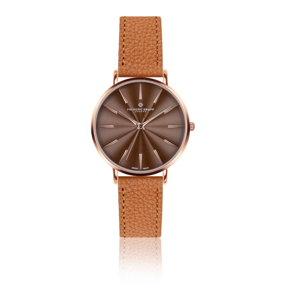 Dámské hodinky s koňakově hnědým páskem z pravé kůže Frederic Graff Rose Monte Rosa Lychee Ginger Brown