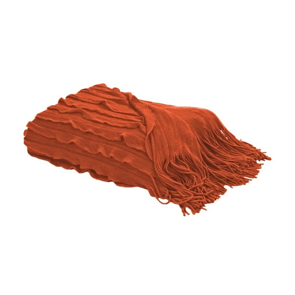 Pléd s třásněmi 127x152 cm, oranžová