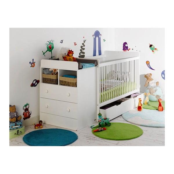 Dětská bílá variabilní postel s úložnou zásuvkou a komodou BEBE Provence Combo, 70x140cm