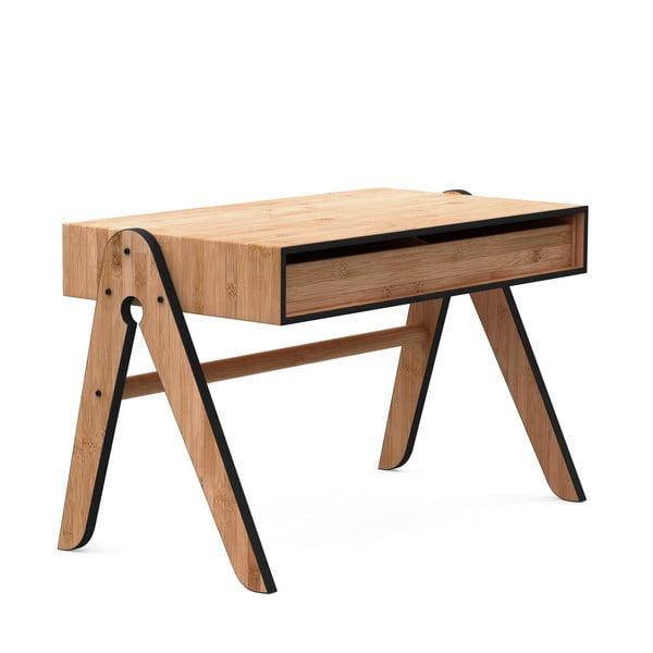 Dětský psací stůl z bambusu Moso s černými detaily We Do Wood Geo's