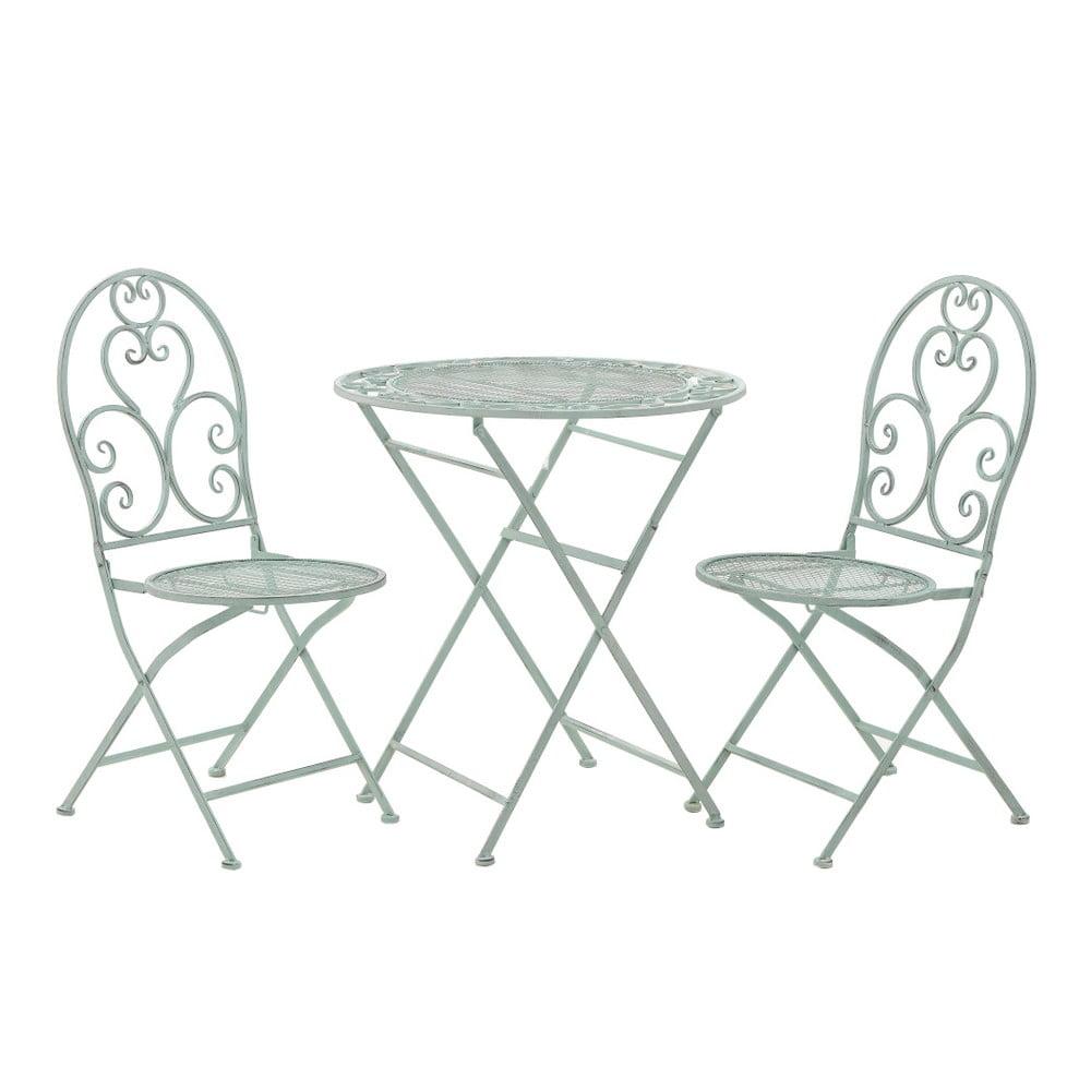Set 2 mátově zelených zahradních židlí a stolku InArt Antique