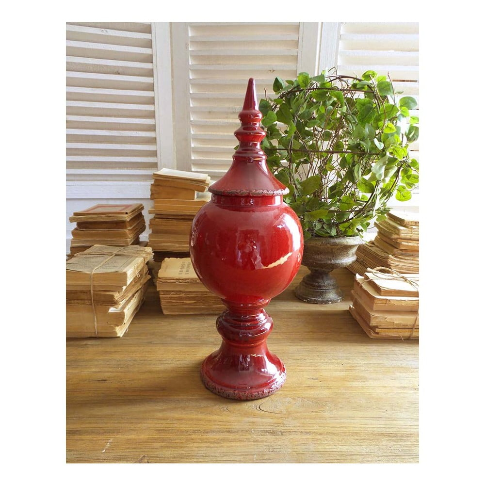 Červená keramická nádoba s víkem Orchidea Milano, 43 cm