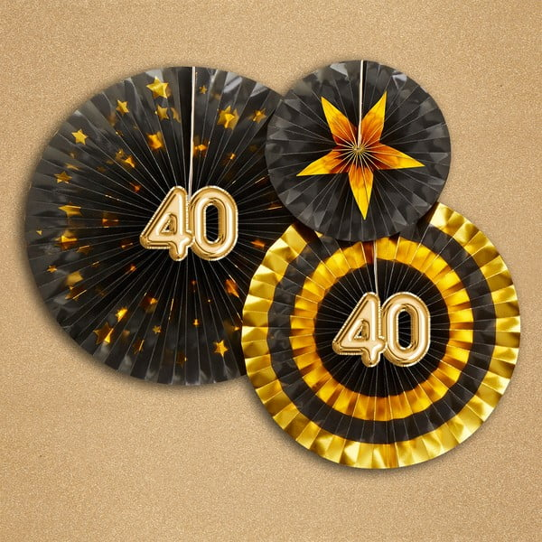 Sada 3 papírových dekorací Neviti Glitz & Glamour 40 Goldie