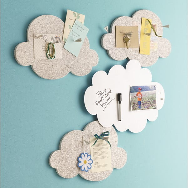 Nástěnka ve tvaru mraku Design Ideas Cloud, bílá magnetická