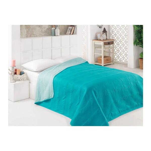 Tyrkysový oboustranný přehoz přes postel z mikrovlákna, 160 x 220 cm
