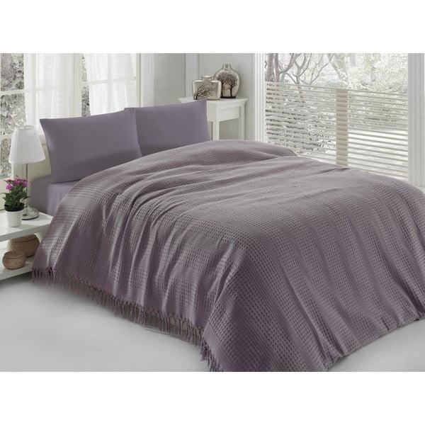 Pique Purple könnyű ágytakaró egyszemélyes ágyhoz, 180 x 240 cm