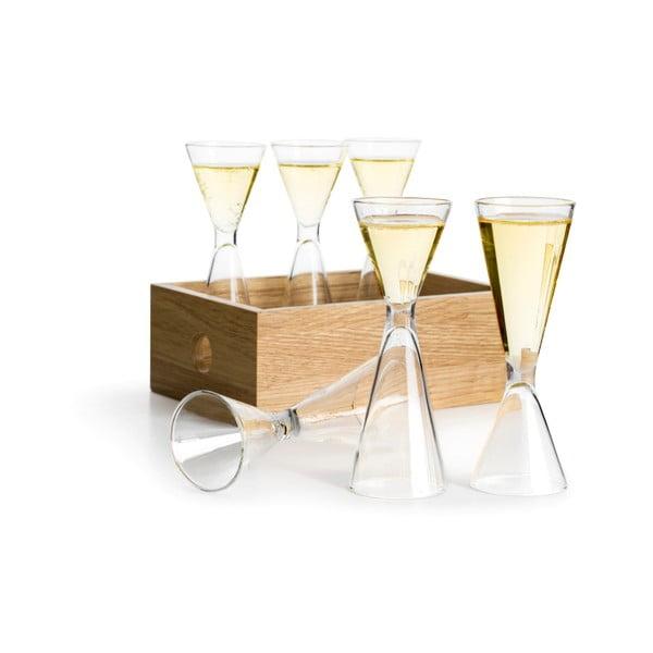 Schnapps 6 db kézzel fúvott üvegpohár tölgyfa dobozban - Sagaform
