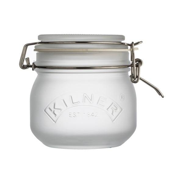 Mléčně bílá sklenice s klipem Kilner, 0,5 l